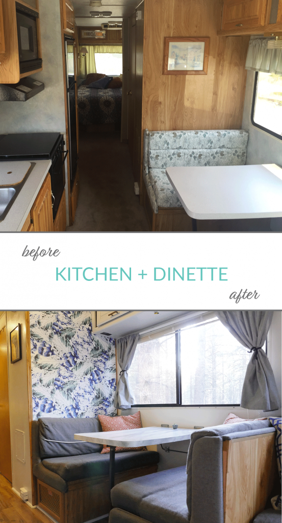 RV renovation interior before and after